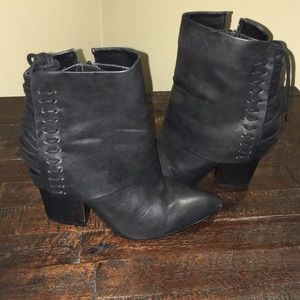 Bumper Black Leather Back Lace-up Heels Boots